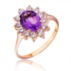Золотое кольцо с аметистом «Ажур»