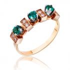 """Золотое кольцо  с изумрудом и бриллиантом """"Моя изумрудинка"""""""