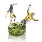 """Серебряная статуэтка """"Футболисты"""" с позолотой"""