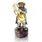 """Серебряная статуэтка с позолотой """"Еврей с Торой"""""""