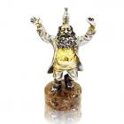 """Серебряная статуэтка с позолотой """"Еврей с вином"""""""