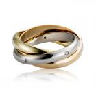 Золота обручка з діамантами «Трініті»