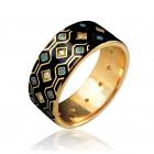 Золота обручка з емаллю «Gobeline»