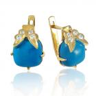Золоті сережки з бірюзою «Ванесса»
