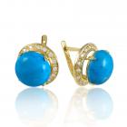 Золоті сережки з бірюзою «Меланія»