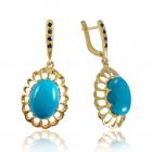 Золоті сережки з бірюзою «Nicoletta»