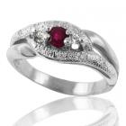Золотое кольцо с рубином и бриллиантами «Вариация»