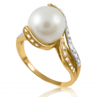 Золота каблучка з перлами «Лавина любові»