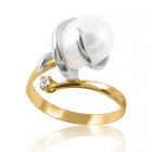 Золота каблучка з перлами «Кришталева»