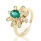 Золота каблучка з діамантами і смарагдом «Деметра III»
