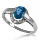 Золотое кольцо с топазом и бриллиантами «Небо Лондона»