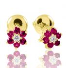 Золоті сережки з рубіном «Червоненька квіточка»