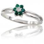 """Золотое кольцо с бриллиантом и изумрудами """"Моника"""""""