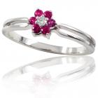 """Золотое кольцо с бриллиантом и рубинами """"Моника"""""""