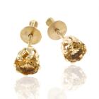 Золотые серьги гвоздики с цитринами