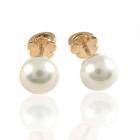 Золоті сережки-пусети з перлинами «Ванесса»
