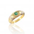 Золотое кольцо с изумрудом  «Галактика»