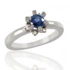 Золоте кільце з сапфіром і діамантами «Flora»