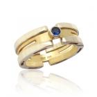 Золотой перстень с сапфиром «Wave»