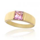 Золотое кольцо с квадратным аметистом «Sirius»