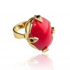 Золоте кільце з коралом «Ангеліка»