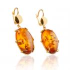 Золотые серьги с янтарем «Лавика»