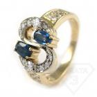 """Золотое кольцо с сапфиром и бриллиантом """"Доллар"""""""