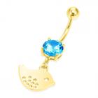 Золотая сережка для пирсинга с топазом 0,5 Ct «Золотая рыбка»