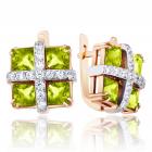 Золотые серьги с квадратными хризолитами «Праздник»