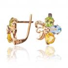 Золоті сережки з кольоровим камінням