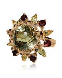 Золота каблучка з цитрином «Аделіна Фраучі»