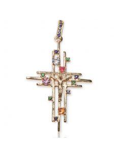 Золотой крестик с сапфиром «Assante»
