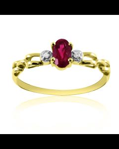 Перстень золотий з рубіном і діамантами «Vita»