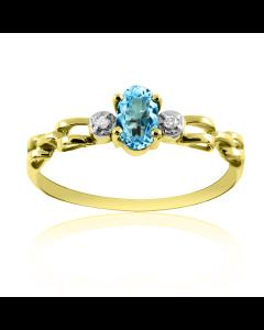Золота каблучка з блакитним топазом «Vita»