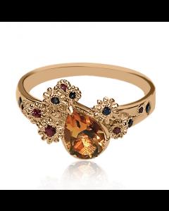 Золоте кільце з рубінами, сапфірами і цитрином «Зоряна ніч»