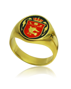 Золотой перстень мужской с эмалью