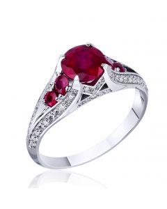 Золотое экскллюзивное кольцо с рубинами и бриллиантами «Сердце Вселенной»