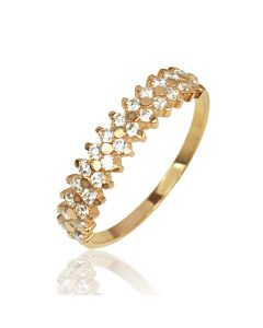 Золотое кольцо с цирконами «Нона»