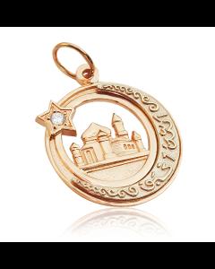 Золотий кулон з цирконієм «Мечеть»