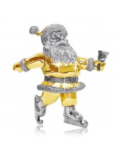 """Серебряная статуэтка с позолотой """"Санта Клаус с колокольчиком"""""""