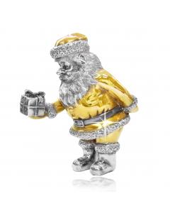 Срібна статуетка з позолотою «Санта Клаус з подарунком»