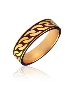 Золотое обручальное кольцо с эмалью «Cannetille»