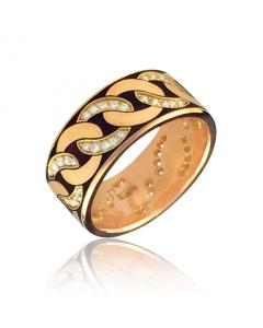 Золотое обручальное кольцо с цирконием«Cannetille»