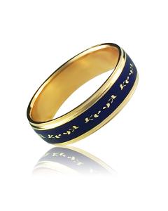 Золота обручка з емаллю «Lui pino»