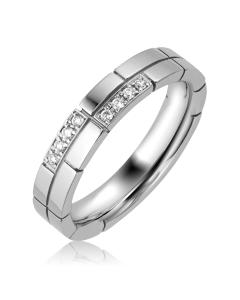 Обручальное кольцо белое золото бриллиант