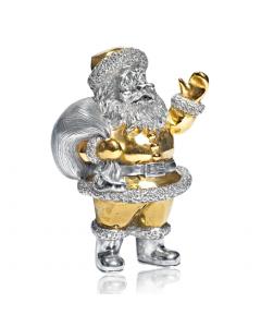 """Серебряная статуэтка с позолотой """"Санта Клаус с мешком"""""""