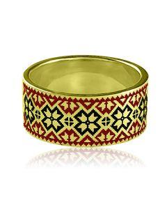 """Золотое обручальное кольцо """"Вышиванка"""""""