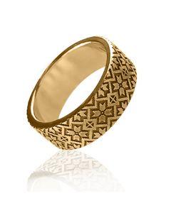 """Обручальное кольцо с гравировкой """"Вышиванка"""""""