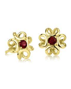 Золотые сережки пусеты с красными гранатами «Luxe»
