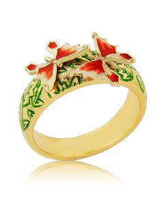 """Золотое кольцо с эмалью """"Мотылек"""""""